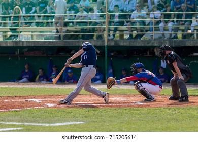 ZAGREB, CROATIA - SEPTEMBER 09, 2017: Baseball match between Baseball Club Zagreb and BK Olimpija 83. Baseball player hit the ball, ball on the baseball bat