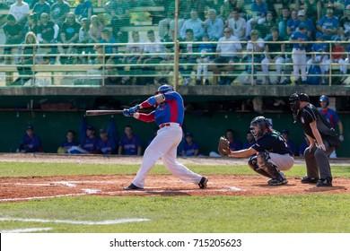 ZAGREB, CROATIA - SEPTEMBER 09, 2017: Baseball match between Baseball Club Zagreb and BK Olimpija 83. Baseball player swing with the baseball bat