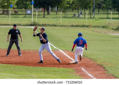 ZAGREB, CROATIA - SEPTEMBER 09, 2017: Baseball match between Baseball Club Zagreb and BK Olimpija 83. Runner on first base
