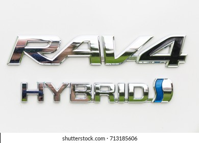 ZAGREB, CROATIA - SEPTEMBER 10, 2017: Logo of a Toyota RAV4 hybrid car, which is powered both by electric battery and gas. Toyota is world leader in production of hybrid cars.