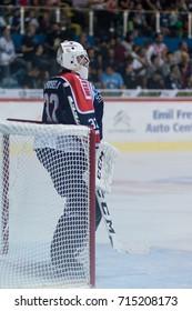 ZAGREB, CROATIA - SEPTEMBER 10, 2017: EBEL ice hockey league match between Medvescak Zagreb and Fehervar AV19. Gasper KROSELJ (32) on goal