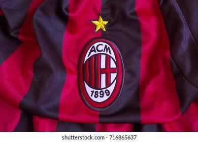 ZAGREB, CROATIA - SEPTEMBER 13, 2017. - Italian football club AC Milan emblem on jersey.
