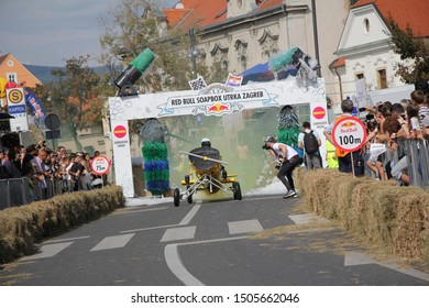 Zagreb, Croatia - September 14, 2019: Zagreb Red Bull Soapboax Race, funny free outdoor event