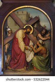 ZAGREB, CROATIA - SEPTEMBER 14: 6th Stations of the Cross, Veronica wipes the face of Jesus, Basilica of the Sacred Heart of Jesus in Zagreb, Croatia on September 14, 2015