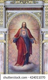 ZAGREB, CROATIA - SEPTEMBER 14: Sacred Heart of Jesus, altarpiece in Basilica of the Sacred Heart of Jesus in Zagreb, Croatia on September 14, 2015