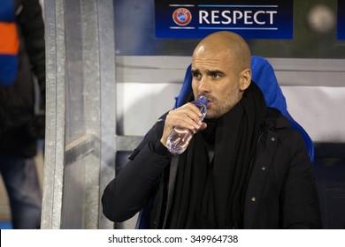 ZAGREB, CROATIA - SEPTEMBER 16, 2015: UEFA Champions League 2015-16 Group F - GNK Dinamo Zagreb VS FC Bayern Munchen. Bayern head coach Josep 'Pep' GUARDIOLA on the bench.