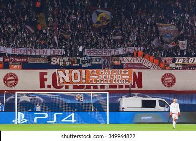 ZAGREB, CROATIA - SEPTEMBER 16, 2015: UEFA Champions League 2015-16 Group F - GNK Dinamo Zagreb VS FC Bayern Munchen. Bayern supporters on south stand.