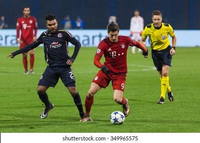 ZAGREB, CROATIA - SEPTEMBER 16, 2015: UEFA Champions League 2015-16 Group F - GNK Dinamo Zagreb VS FC Bayern Munchen. Hilal SOUDANI (2) and Robert LEWANDOWSKI (9)