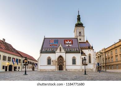 Zagreb, Croatia - September 16 2017: St Mark's Church in Zagreb.