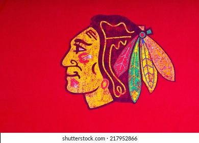 ZAGREB , CROATIA - SEPTEMBER 17 , 2014 :  NHL Chicago Blackhawks club equipment logo printed on textile, product shot