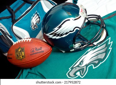 ZAGREB , CROATIA - SEPTEMBER 17 , 2014 :  NFL Philadelphia Eagles club equipment , ball, helmet, jersey and bag, product shot