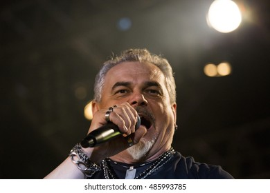 ZAGREB, CROATIA - SEPTEMBER 17, 2016: Pero Galic, frontman of Opca opasnost rock band on concert on Salata stadium in Zagreb