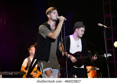 ZAGREB, CROATIA - SEPTEMBER 17, 2016: Dominik Suskovic, singer of OSDS band as a opening act of Opca opasnost rock band on concert on Salata stadium in Zagreb