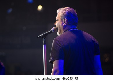 ZAGREB, CROATIA - SEPTEMBER 17, 2016: Pero Galic, frontman of Opca opasnost rock band on concert on Salata stadium in Zagreb