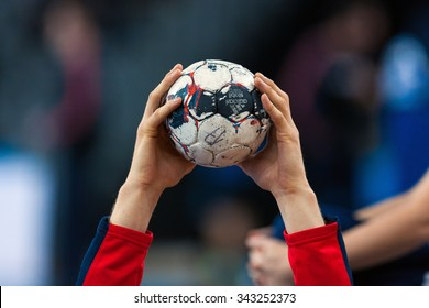 ZAGREB, CROATIA - SEPTEMBER 21, 2015: EHF Men's Champions League, Group (A) phase. Match between HC Zagreb PPD and HC Flensburg-Handewitt. Closeup of Flensburg player holding the ball.