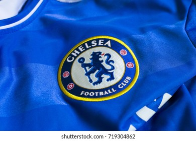 ZAGREB, CROATIA - SEPTEMBER 21, 2017. - English football club Chelsea FC emblem on blue jersey.