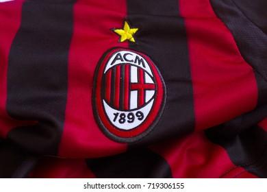 ZAGREB, CROATIA - SEPTEMBER 21, 2017. - Italian football club AC Milan emblem on jersey.