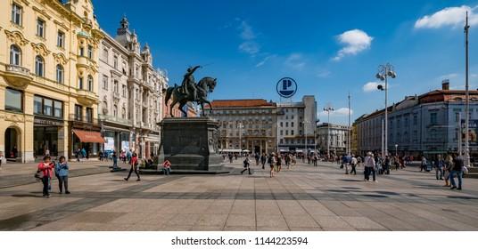 ZAGREB, CROATIA - September 23, 2017: People on Ban Jelacic Square, the central square of Zagreb.