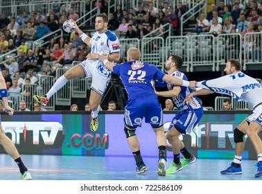 ZAGREB, CROATIA - SEPTEMBER 23, 2017: EHF Velux Champions League PPD Zagreb VS RK Pick Szeged. MANDALINIC Stipe (27) in air