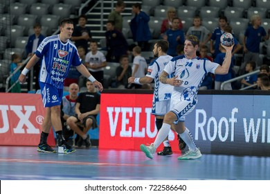 ZAGREB, CROATIA - SEPTEMBER 23, 2017: EHF Velux Champions League PPD Zagreb VS RK Pick Szeged. VUGLAC Mario (74) with ball