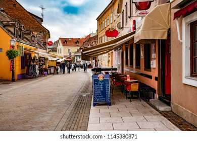 Zagreb, Croatia - September 24, 2017: Tkalciceva Street in Zagreb downtown lined with restaurants and cafes.