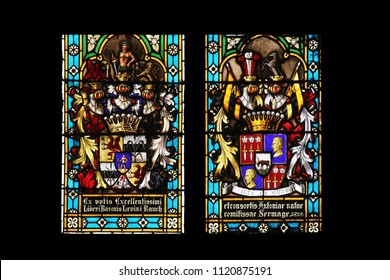 ZAGREB, CROATIA - SEPTEMBER 25: Coat of arms of Baroness Antony Sermage and Baron Levin Rauch, stained glass in Zagreb cathedral dedicated to the Assumption of Mary in Zagreb on September 25, 2013.