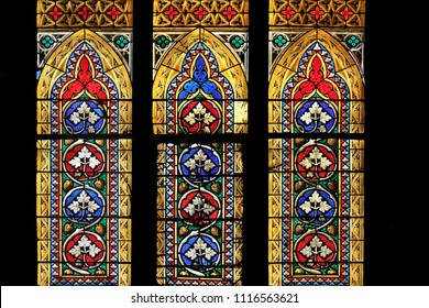 ZAGREB, CROATIA - SEPTEMBER 25: Stained glass in Zagreb cathedral dedicated to the Assumption of Mary in Zagreb on September 25, 2013.