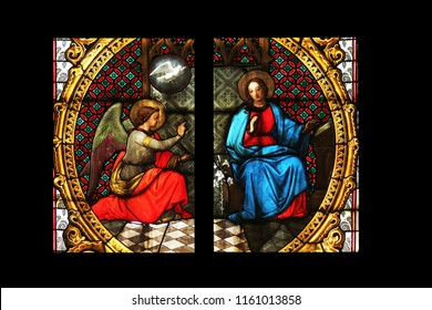 ZAGREB, CROATIA - SEPTEMBER 26: Annunciation of the Virgin Mary, stained glass in Zagreb cathedral dedicated to the Assumption of Mary in Zagreb on September 26, 2013.