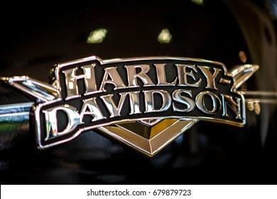 ZAGREB, CROATIA, September 28. 2013: details on Harley Davidson motorcycle