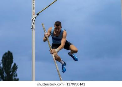 ZAGREB, CROATIA - SEPTEMBER 4, 2018: IAAF World Challenge Zagreb, 68th Boris Hanzekovic Memorial. Pole vault (M).