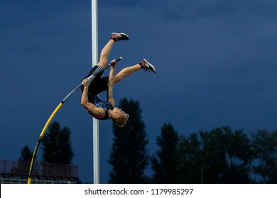 ZAGREB, CROATIA - SEPTEMBER 4, 2018: IAAF World Challenge Zagreb, 68th Boris Hanzekovic Memorial. Pole vault (M).