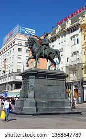 ZAGREB, CROATIA – SEPTEMBER 9,  2012: Monument to Ban Jelacic on city square, Zagreb