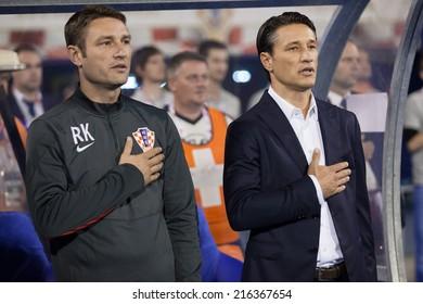 ZAGREB, CROATIA - SEPTEMBER 9, 2014: UEFA European Championship 2016 qualifiers in Group H - Croatia VS Malta. Robert KOVAC (CRO) and Niko KOVAC (CRO) during national anthem