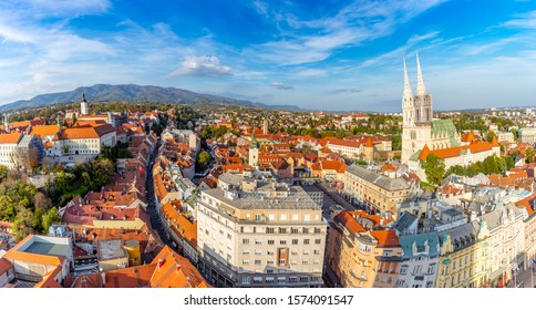 Zagreb Croatia at Sunset. Aerial View from above of Ban Jelacic Square