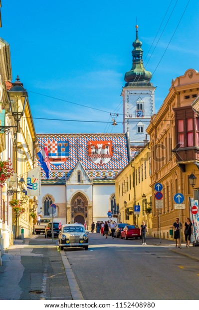 Zagreb, Croatia-August 1, 2018: Cirilometodska street that leads to famous St Mark's Church