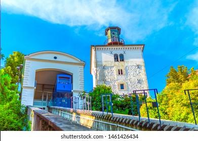 Zagreb, Croatia-July 17, 2019: Zagreb funicular and Lotrscak