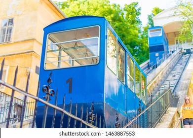 Zagreb, Croatia-July 17, 2019: Historic Zagreb Funicular (Zagrebacka uspinjaca), operated by ZET Zagreb, opened in 1890