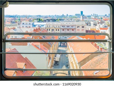 Zagreb, Croatia-July 28, 2018: Zagreb funicular