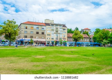 Zagreb, Croatia-June 20, 2018: Franjo Tudjman Square, park and tranny station in front