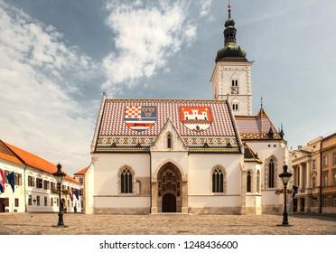 ZAGREB, CROATIA-JUNI 26, 2018:St. Mark's church in Zagreb. Zagreb is the capital of Croatia