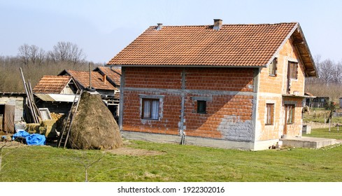 ZAGREB, CROATIA-MAR. 21, 2015:  A traditional farmhouse in the countryside outside the nation's capital.