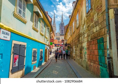 Zagreb, Croatia-May 3, 2018: Famous Skalinska street in Zagreb. Street is full of local food restaurants, must visit place for tourists