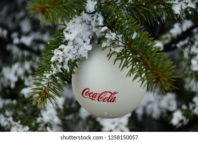 ZAGREB - DECEMBER 2018: Advent in Zagreb cocacola advertisement christmas tree decoration