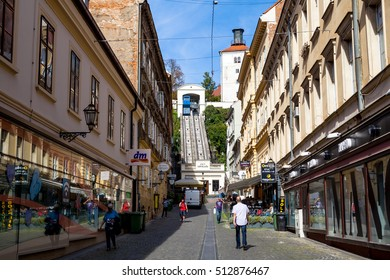 The Zagreb funicular. One of the shortest funiculars in the world in ZAGREB, CROATIA on 29 SEPTEMBER 2016