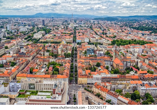 Zagreb. Helicopter aerial view.