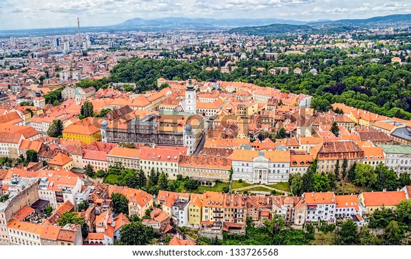 Zagreb Panorama with Church of St. Mark in the middle, Croatia. Helicopter aerial view.