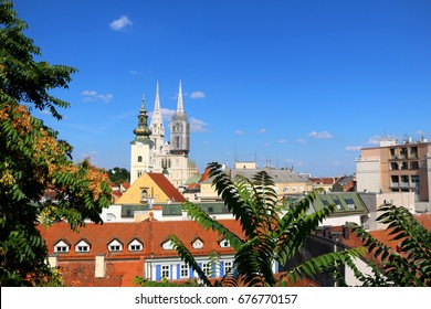 Zagreb skyline with Zagreb Cathedral and St. Mary Church. View from Strossmayer Promenade on Upper Town.