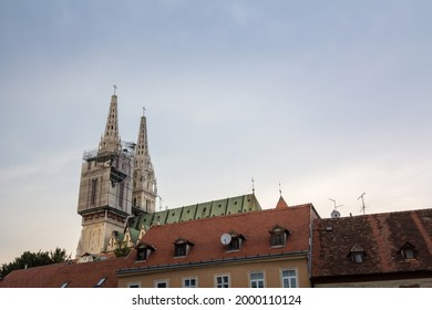 Zagrebacka Katedrala, also known as Zagreb cathedral, seen at dusk from Kaptol district. This isthe biggest catholic church of Croatia and a major landmark of the croatian capital city.  - Shutterstock ID 2000110124