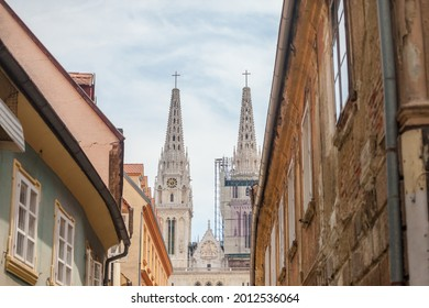 Zagrebacka Katedrala, also known as Zagreb cathedral, seen in the afternoon from Kaptol district. This is the biggest catholic church of Croatia and a major landmark of the croatian capital city.  - Shutterstock ID 2012536064