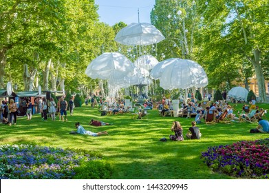 Zagreb,Croatia- July 1, 2019: People in Park Zrinjevac, Croatia